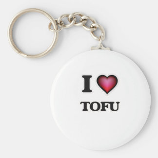 I Love Tofu Basic Round Button Keychain