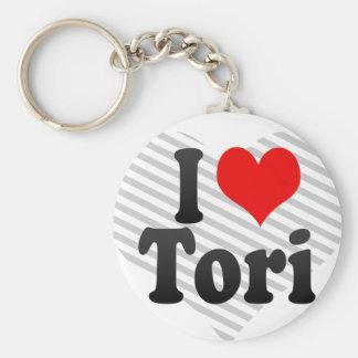 I love Tori Basic Round Button Keychain