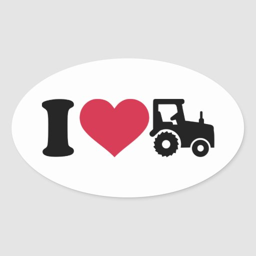 I love tractor oval stickers
