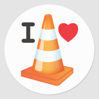 I Love Traffic Cones Orange White Cone Commuter Round Sticker
