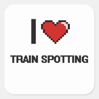 I Love Train Spotting Digital Retro Design Square Sticker