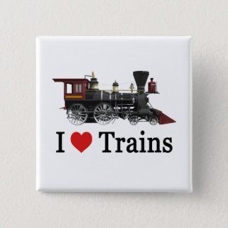 I Love Trains 2 Inch Square Button