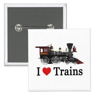 I Love Trains 2 Inch Square Button