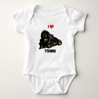 I Love Trains Baby Bodysuit