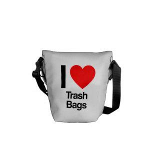 i love trash bags courier bag