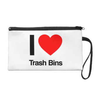 i love trash bins wristlet clutch