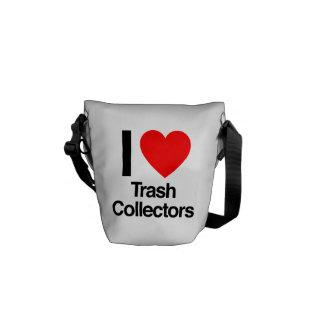 i love trash collectors messenger bags