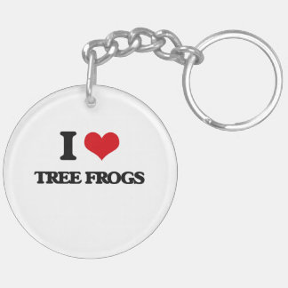I love Tree Frogs Double-Sided Round Acrylic Keychain