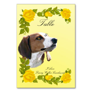I Love Treeing Walker Coonhounds and Yellow Roses Table Card