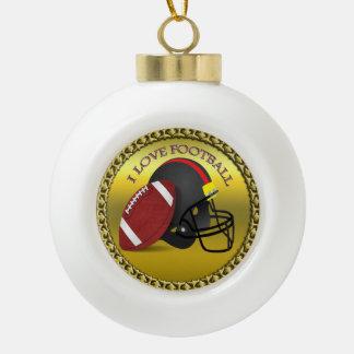 I love trendy elegant modern football ceramic ball christmas ornament