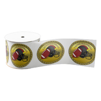 I love trendy elegant modern football grosgrain ribbon