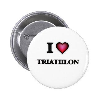 I Love Triathlon 2 Inch Round Button