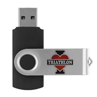 I Love Triathlon USB Flash Drive
