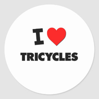 I love Tricycles Round Stickers