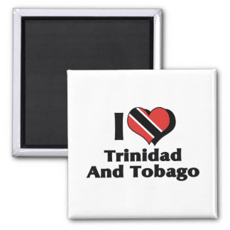 I Love Trinidad And Tobago Flag Square Magnet