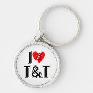 I Love Trinidad and Tobago Silver-Colored Round Keychain