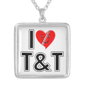 I Love Trinidad & Tobago Square Pendant Necklace