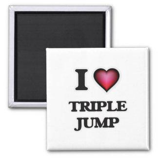 I Love Triple Jump Square Magnet
