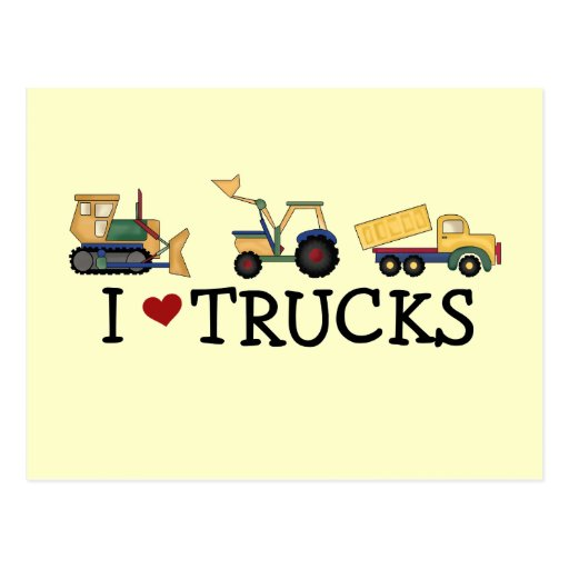 I Love Trucks T-shirts and Gifts Postcards