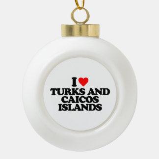 I LOVE TURKS AND CAICOS ISLANDS CERAMIC BALL CHRISTMAS ORNAMENT