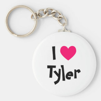 I Love Tyler Basic Round Button Keychain