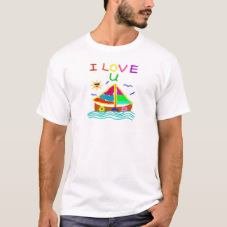 I Love U Dad Sailboat White T-Shirt, S M L XL 1-3X T-Shirt