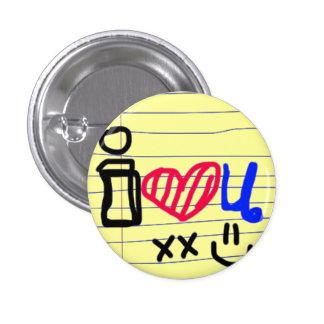i love u doodle 1 inch round button