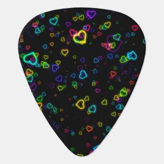 I Love U - Happy Neon Guitar Pick
