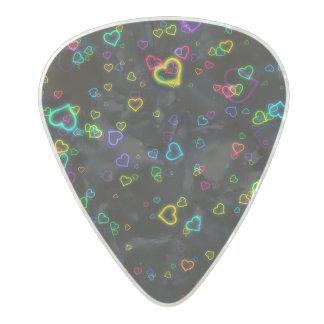I Love U - Happy Neon Pearl Celluloid Guitar Pick