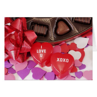 I Love U XOXO Hearts Card