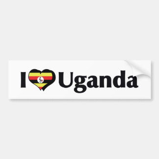 I Love Uganda Flag Bumper Sticker