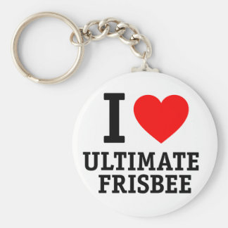 I Love Ultimate Frisbee Keychain