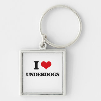 I love Underdogs Silver-Colored Square Keychain