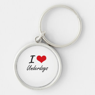 I love Underdogs Silver-Colored Round Keychain