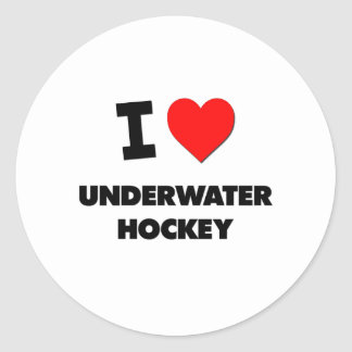 I Love Underwater Hockey Classic Round Sticker