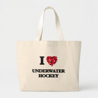 I Love Underwater Hockey Large Tote Bag