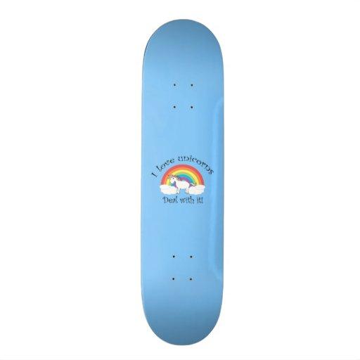 I love unicorns deal with it blue custom skateboard