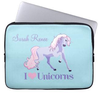 I Love Unicorns Personalized Laptop Sleeve