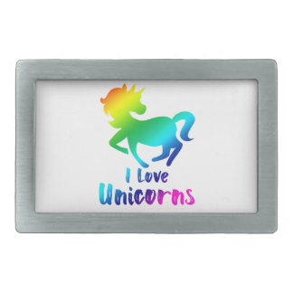 I Love Unicorns Rainbow Design Rectangular Belt Buckles