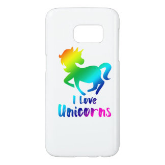I Love Unicorns Rainbow Design Samsung Galaxy S7 Case