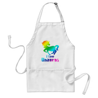 I Love Unicorns Rainbow Design Standard Apron