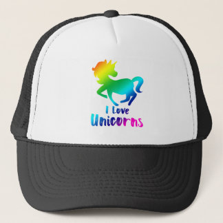 I Love Unicorns Rainbow Design Trucker Hat