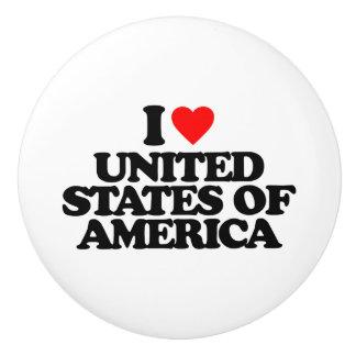 I LOVE UNITED STATES OF AMERICA CERAMIC KNOB