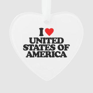 I LOVE UNITED STATES OF AMERICA ORNAMENT