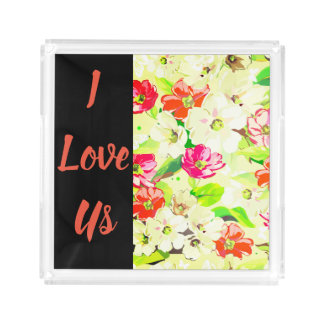 I love us floral texture back ground design acrylic tray