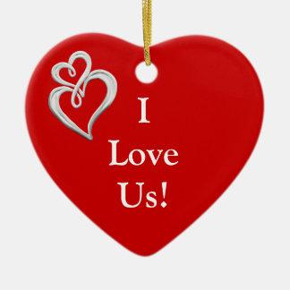 I Love Us Heart Onament Ceramic Heart Ornament