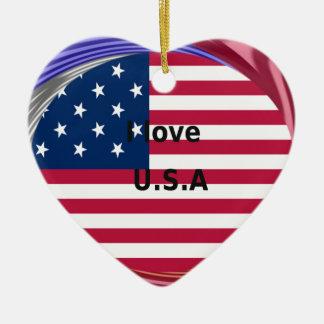 I LOVE USA CERAMIC HEART ORNAMENT