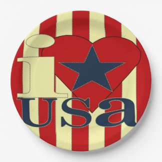 I Love USA Paper Plate 9 Inch Paper Plate