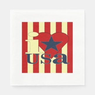 I Love USA Party Napkins Disposable Napkins