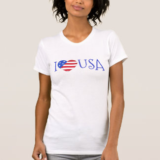 I Love USA Patriotic July 4th American Flag Heart T-Shirt